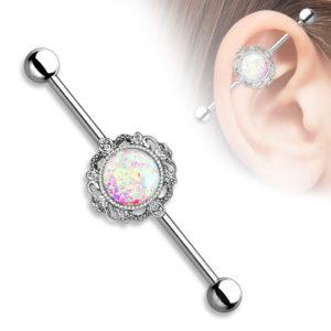 Industrial Barbell m Filigran Opal Glitter