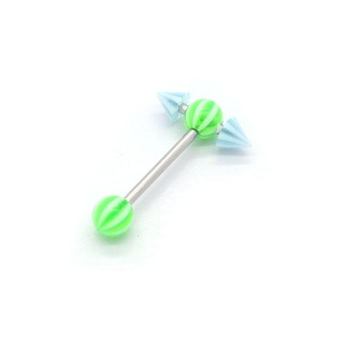 Spiked Barbell - Grønn & Lyseblå