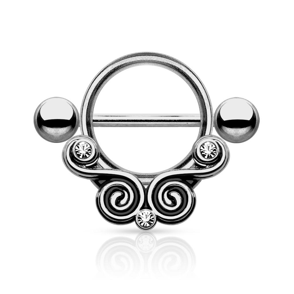 Swirls Nipple Shield - Hematitt Stål