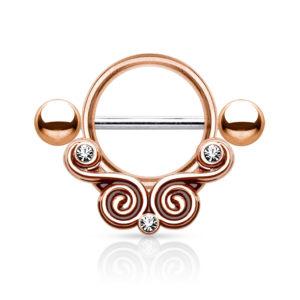 Swirls Nipple Shield - Rosegullfarget