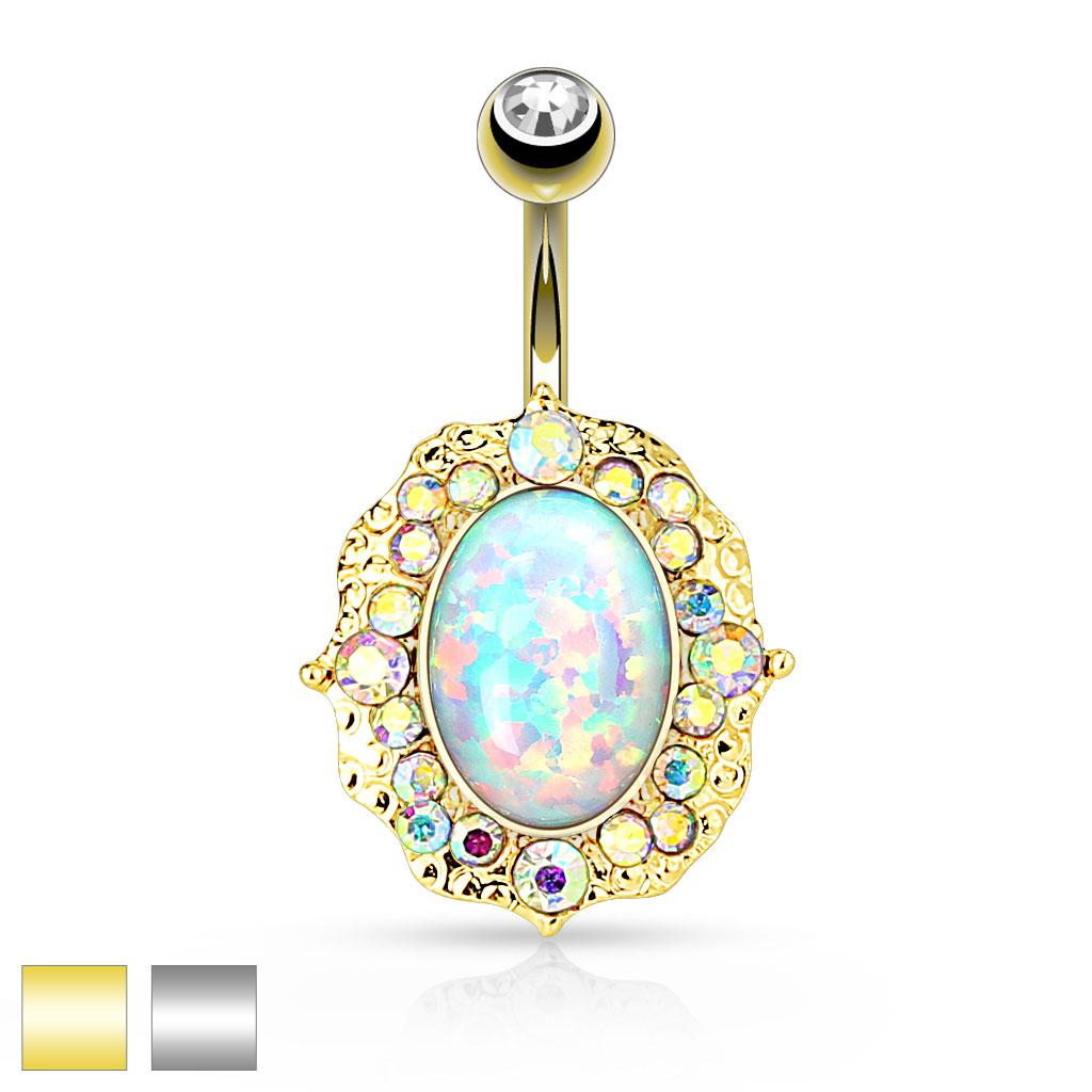 Bananabell m Opal Stein og multifarget små steiner