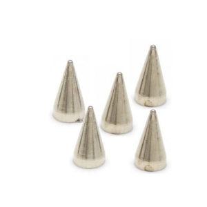 Sølv Plastikk Spikes 8x14 mm 5 stk