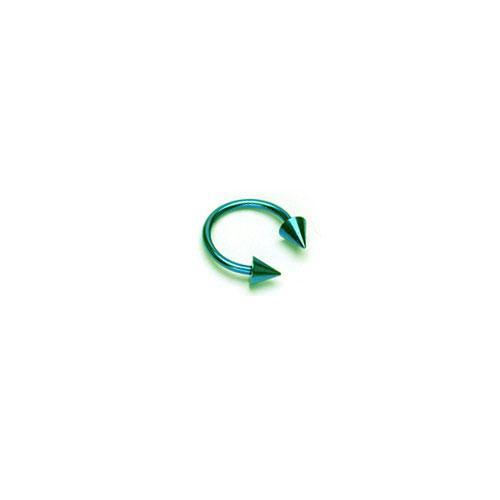 Titaneloksert Hestesko m Spikes - Grønn