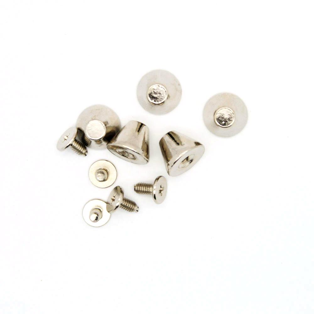 Sølv Metal Flat Cone Spikes 5 stk