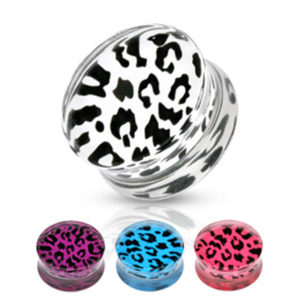 Akrylplugg med leopard mønster